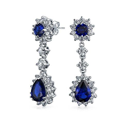 e Zirkonia Birne Teardrop Chandelier-Ohrringe Für Prom CZ Simulierte Sapphire Silber Plattiert ()