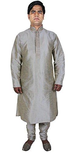 Manica lunga Moda Kurta pigiama maschile per il vestito indiano partito grigio chiaro taglia XL