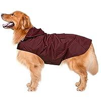 Impermeable para perros con capucha y collar Agujero y tiras reflectoras seguras, Ultra-Light Transpirable Impermeable 100% chaqueta para lluvia por Zellar para medianos Perro de raza grande