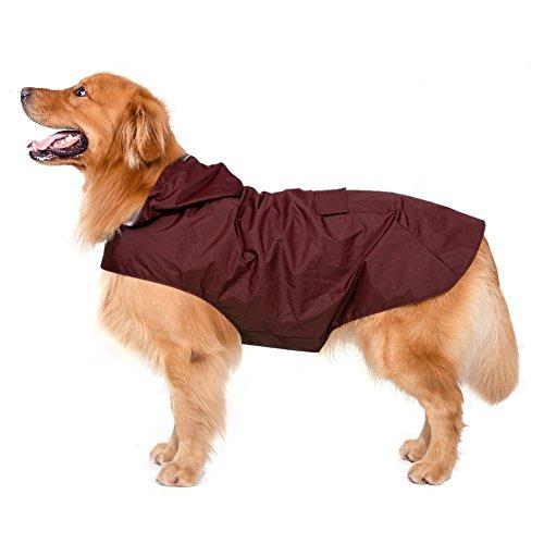 Impermeabile per cani con cappuccio e foro per colletto e strisce riflettenti protettive, impermeabile ultraleggero e impermeabile 100% impermeabile di Zellar per cani di taglia media Large