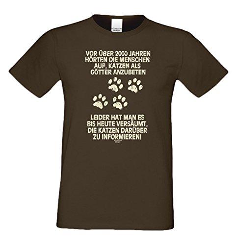 Katzen als Götter :: Lustiges Sprüche Fun T-Shirt mit Tiermotiv für Herren :: Geschenkidee für Ihn Geschenk für Katzenliebhaber Katzenfans Farbe: braun Braun