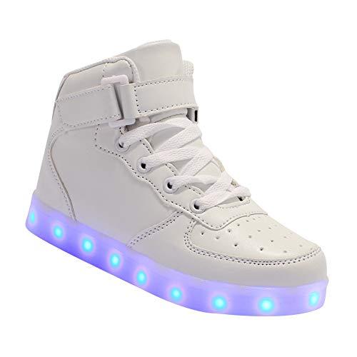 Daytwork Aufladen Leuchtend Leuchtschuhe Blinkschuhe - Jungen Mädchen Laufschuhe Kind LED Blitz USB Trainer Turnschuhe Ladegerät Leder High Top Schuhe Sport Outdoorschuhe (11 Kleinkind-high-tops-größe)