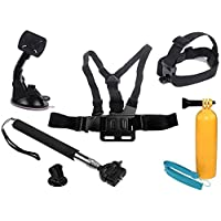 6 in 1 Combo Set Chest Harness Mount, Head Belt Strap, Monopod, Car Suction Mount, Adapter and Floaty Bobber for GoPro Hero 2, 3, 3+ Plus Camera