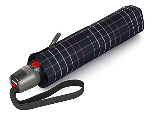 Knirps T200 Duomatic, Check Black, Länge ca. 28 cm, Durchmesser ca. 5 cm (Black Bekleidung Check)