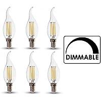 V-TAC dimmerabile lampadina LED a candela con filamento, confezione da 6, E14/SES/Vite Piccola Edison, 4W, bianco caldo 2700K/Fiamma Punta finitura in vetro a incandescenza Look/20000ore di vita media non dimmerabile/230V–300gradi angolo del fascio di luce: SKU: 4366