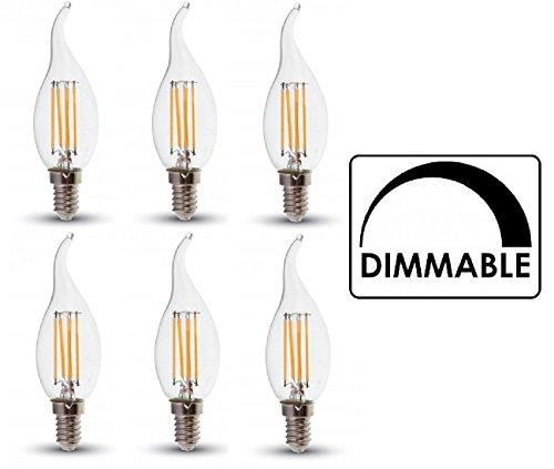 V-TAC LED regulable filamento vela bombillas-paquete de 6-E14/