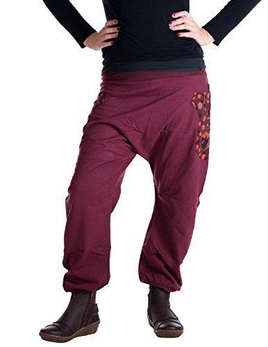 Vishes – Alternative Bekleidung – Haremshose mit hohem Schritt aus warmer, dicker Baumwolle Dunkelrot