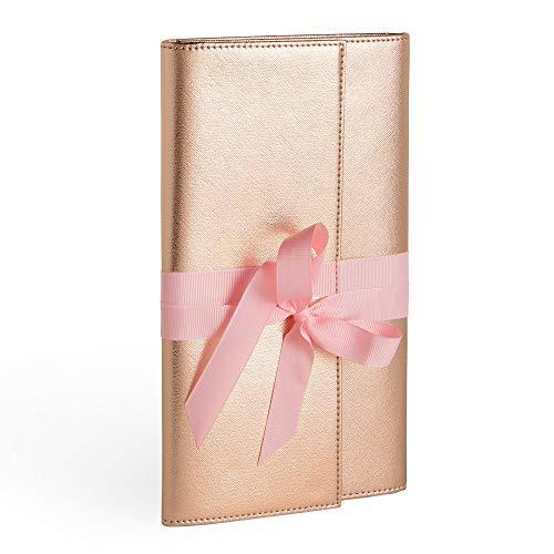 Schmuck Reisebrieftasche - Rose Gold & Pink - Kunstleder-Futter - Band - Lagerung/Organisation/Halter - Geschenk - Schmuckrolle - Für Ohrringe, Ringe, Halsketten & Armbänder -