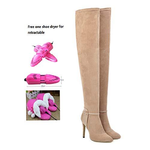BWCX Damen Wildleder-Overknee-Stiefel, spitzer Zehenbereich, inkl. ausziehbarem Schuhtrockner 48 Aprikose