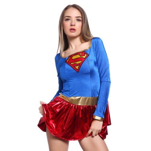 Deluxe Supergirl Kostüm Größe 8–16 Gr. Medium, rot/blau