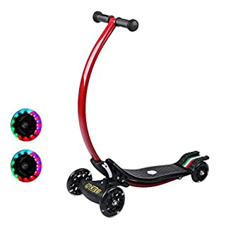Fold-able Beginner Children's Bikes & Riding Toys Kick Scooter with Tilt Turning Mechanism Flash Lighting Four-wheel Curved C Shape Handlebar Fixed Height for Kids Ages 4-10 & Adult up to 50kilos