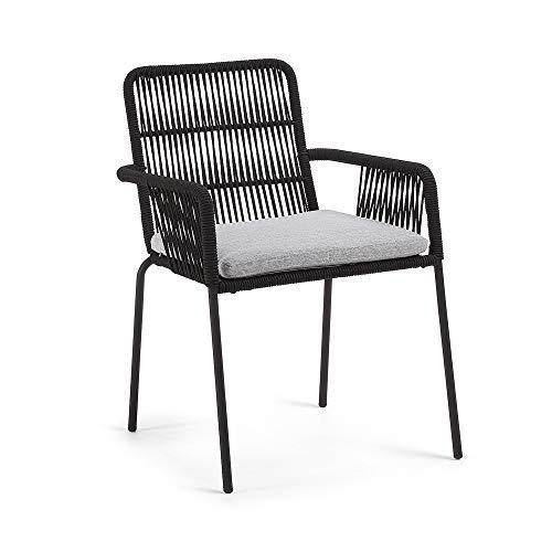 Kave Home Chaise avec accoudoirs Samanta Corde Noir Pied Acier Noir