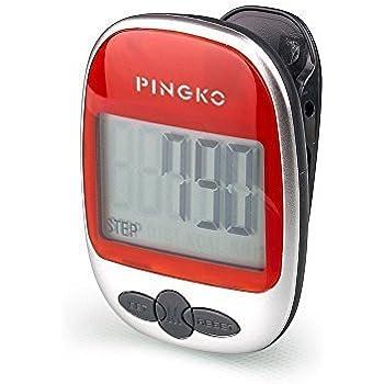 Pod/ómetro con clip Pingko de calidad superior con contador de calor/ías y temporizador de ejercicio en millas y kil/ómetros cuenta pasos de precisi/ón