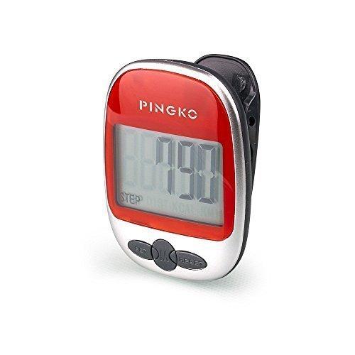 pingko Walking Schrittzähler genau Track Schritte tragbar Sport Schrittzähler Schritt/Distanz/Kalorien/Zähler Fitness Tracker, Kalorien counter-red