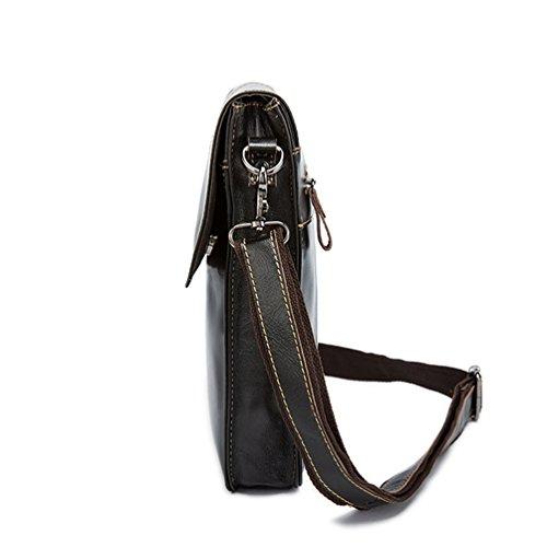 Yuncai Mode Retro Herren Umhängetasche Einfarbig Geschäft Klein Schultertaschen Schwarz Kaffee