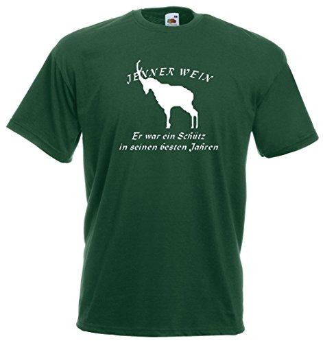 Jennerwein Wilderer T-Shirt | Er war ein Schütz | Brustdruck | weißer Flock Grün