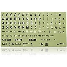 Interesting® Inglés Cartas de bricolaje etiquetas autoadhesivas de teclado que brilla luminoso estupendo fluorescentes