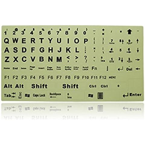 Interesting® Inglese Lettere fai da te etichette autoadesive tastiera ardore Super luminoso fluorescenti - 2 Autoadesivi Lettere