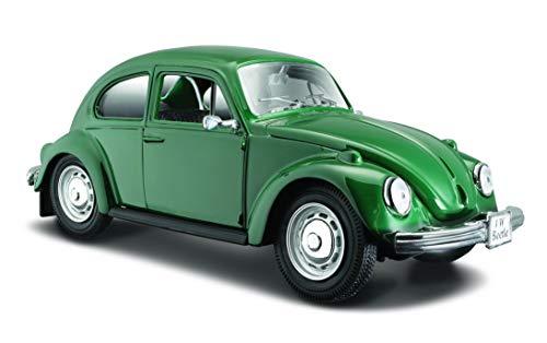 Maisto VW Käfer 1973: Originalgetreues Modellauto mit Motorhaube und Vordertüren zum Öffnen, Maßstab 1:24, Fertigmodell, 17 cm, rot (531926) (Vw Käfer Spielzeug)