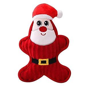Naisicatar 1pc Chien en Peluche de Noël de Chien Chiot Bite Chew Jouets Jouet Mignon Chien Jouet Cadeau pour Teething Moyen Petit Chiens Père Noël