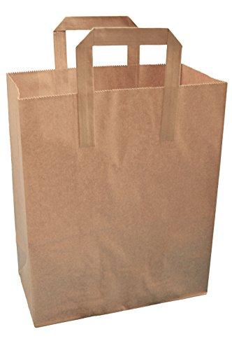 20 Kraftpapier braun Tasche Thepaperbagstore SOS Speisen Tragetaschen mit Griffen Imbiss 25x30x15cm