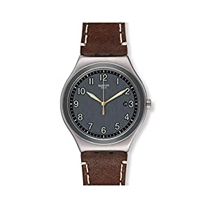 Swatch Mens Analogue Quartz Watch with Leather Strap YWS445