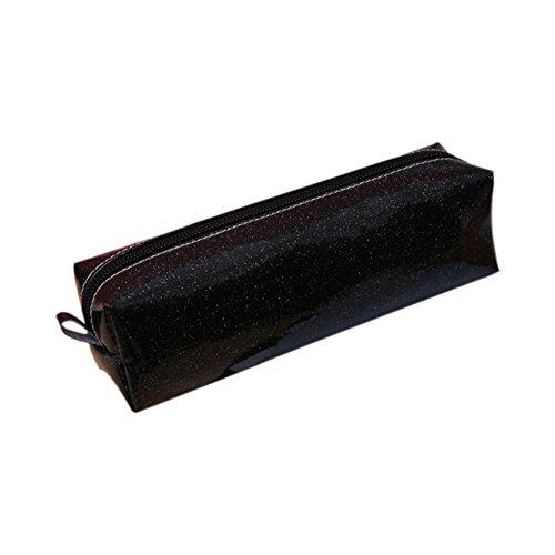 Qifumaer Toile Trousse à Crayon Trousse Scolaire Trousse Scolaire ado Zippé de Bureau Papeterie Fournitures Scolaires Size 20 * 6 * 6CM (Noir) Qifumaer