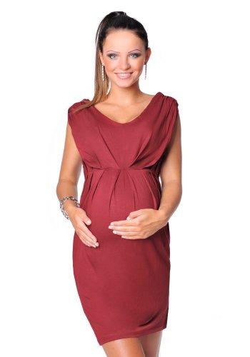 Purpless Damen Umstandskleid Schwangerschaft Cocktail-Kleid Knielang Ärmellos 8437 (40, Burgundy) (Mutterschaft Cocktail-kleid)