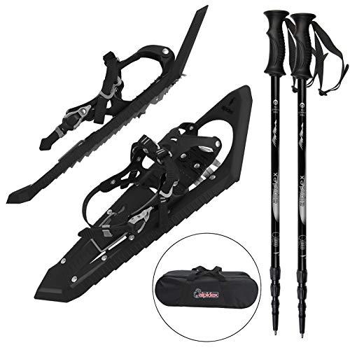 ALPIDEX Raquetas de nieve con auxiliar de escalada, mordaces uñas delanteras y bolsa de transporte incluida - adecuadas para tallas de calzado de 35 a 45 - con o sin bastones, Color:Black sin bastones