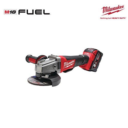 Milwaukee M 18CAG 125x pd-502X–Winkelschleifer fuel18V 5.0Ah Lithium-125mm mit Schalter Toter Mann