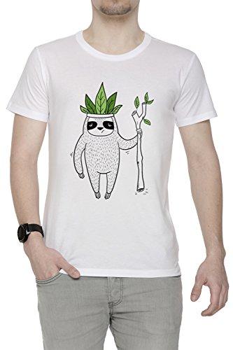 König von Faultier Herren T-Shirt Rundhals Weiß Kurzarm Größe M Men's White Medium Size ()