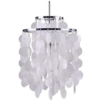 Lampe suspension Fun 2DM - Nacre - Inspiration Verner Panton. Blanc