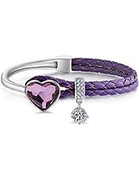 Le Premium® Trenzado Pulsera De Cuerda De Cuero Con Cristales En Forma De Corazón De Swarovski -Rosaline Rosa