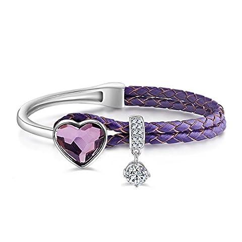 Le Premium® Cuir tressé Bracelet à corde Avec cristaux en forme de coeur De Swarovski -Rose antique