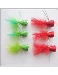 6unidades de Popper pesca moscas verde y rojo, tamaño 10gancho