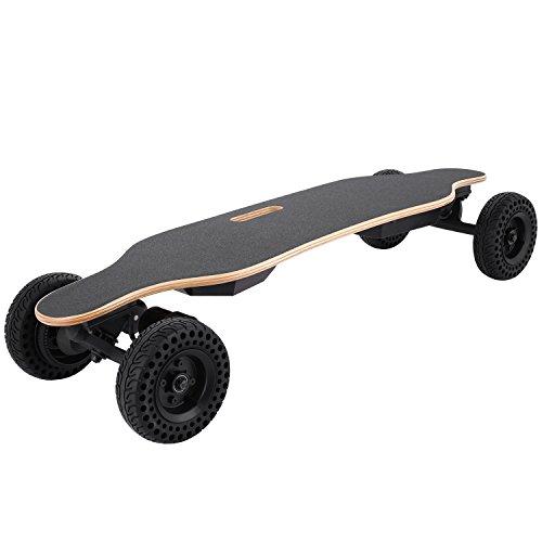 WeSkate E400 DIY Electric Skateboard,Max.35 km/h|Dual-Motor 1800W|kabellose Fernbedienung|Einzigartiger Skateboardschalter|Max.Belastung:120kg|hochwertiges Mountainboard elektrisches Skateboard,mit Austausch-Offroad-Rädern (Riemenantrieb Motor)