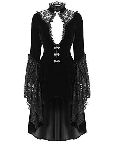 Dark in love Womens Gótico FRAC Chaqueta Terciopelo Negro Encaje Vampiro Steampunk - Negro, XXL - UK Womens Size 16