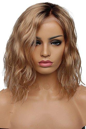 HotQueen Perücken Short Bob Wavy Hair Glueless Human Hair Wigs Ombre Blonde Brazilian Virgin Hair Curly Lace Front Hair Wigs -