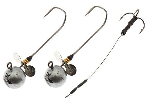 Westin RoundUp Propeller - 2 Jighaken 7/0 & 1 Stinger, Jigköpfe mit Zusatzreiz, Angsthaken für Gummifische für Hecht, Zander, Wels, Gewicht:15g