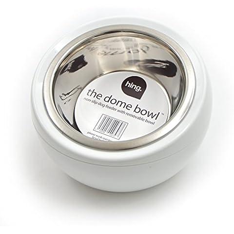 Ciotola per cibo DOME BOWL per cani e gatti - ciotola cibo per animali - stazione cibo - contiene 450 ml di cibo - Misure 17 x 17 x 12 cm - Colore: Bianco - Bone Doppia Bowl