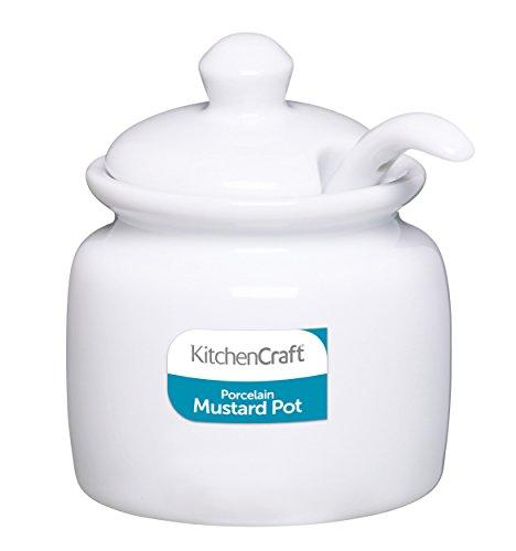 Kitchen Craft Weißes Porzellan Senftöpfchen mit Deckel und Löffel, KCMUSTPOTCER -**U.K.IMPORT**