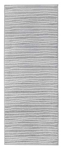 Andiamo Webteppich Bolognia Streifen-Muster Läufer modern Polypropylen Öko-Tex 100 Teppich, Grau, 80x200 cm