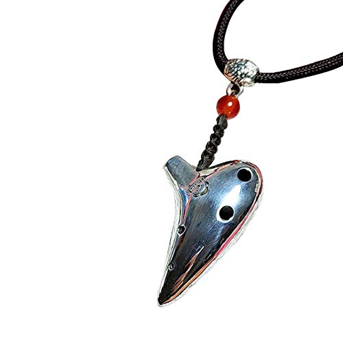 Handgemachte Halskette, reduzierte Mini Sechs-Loch Metallic Flush Ocarette Anhänger, 925 Sterling Silber Ocarina Anhänger, benutzerdefinierte Halskette