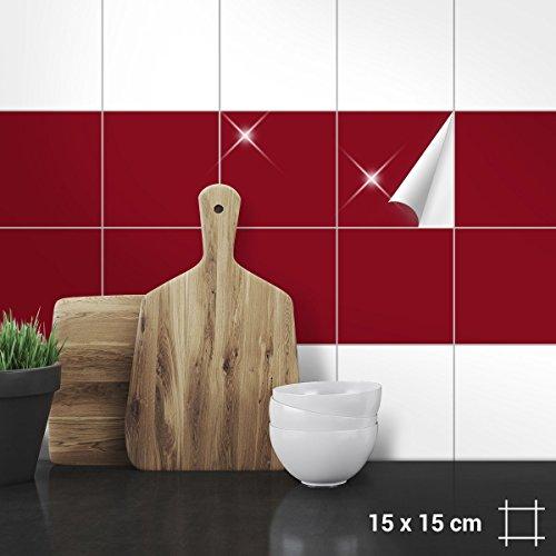 Wandkings Fliesenaufkleber - Wähle eine Farbe & Größe - Weinrot Glänzend - 15 x 15 cm - 20 Stück für Fliesen in Küche, Bad & mehr
