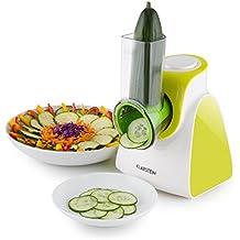 Klarstein Carrot & Rock • Universal Salatschneider • elektrische Schneide- und Raspelmaschine • Obst • Gemüse • Käse •Schokolade • 150 Watt • 5 austauschbare Raspel- und Schneide-Aufsätze • grün