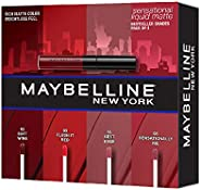 Maybelline New York Sensational Liquid Matte Lip Kit - Soft Wine, Flush it Red, Sensationally Me, Best Babe, 7