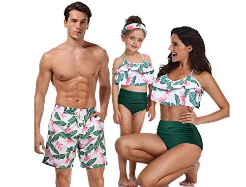 ZYLL Familie passende Bademode Beachwear Mama und ich Badeanzug Mutter Tochter Vater Sohn Kleidung Kleider High Waist Bikini Look Mama,A,MANM (Sohn Mama Kostüme)