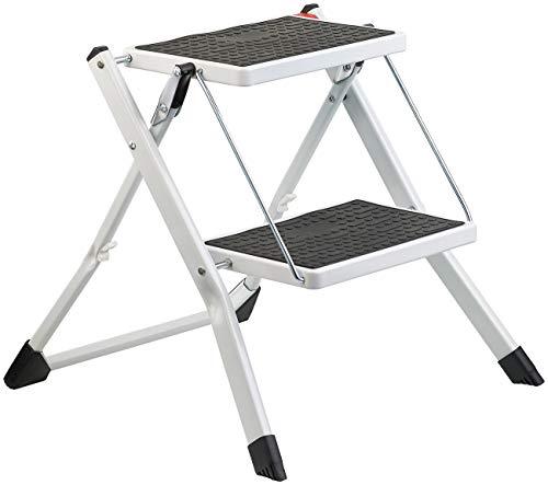 AGT Trittleiter: Mini-Klapptritt aus Stahl mit 2 rutschfesten Stufen, Klapp-Sicherung (Tritt)