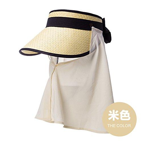 LLZTYM Femelle/Été/Vide Haut Sun Visor Hat/Amovible/Masque/Chapeau/Chapeau/Plage/Tête/Cadeau/Chapeau Beige