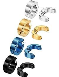 8 Pezzi Non-piercing Orecchini Orecchio Clip Finti Anelli d'Orecchio per Uomini e Donne, in Acciaio Inox, 4 Colori